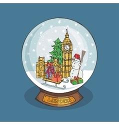 London Christmas Snow globeDoodle landmark vector image vector image