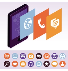 mobile phone with interface screens vector image vector image