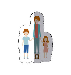 sticker color silhouette with kids and mom with vector image