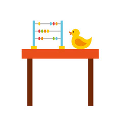 Table with rubber duck toy icon vector