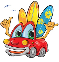 travel car cartoon vector image vector image