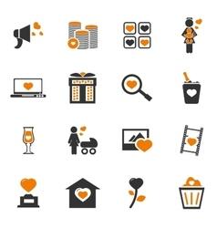 Valentine day icons set vector image