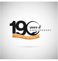 190 years anniversary logo with ribbon and hand vector image