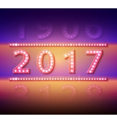 2017 new year symbol with light bulbs vector