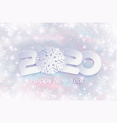 2020 happy new year with winter background vector