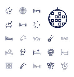 22 night icons vector