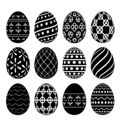 a set of easter eggs with patterns vector image