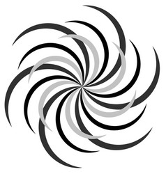 Abstract radial spiral twirl or swirl element vector