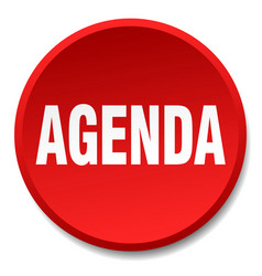 Agenda red round flat isolated push button vector