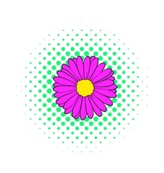 Aster flower icon comics style vector image