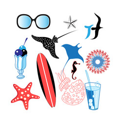beach marine set different elements vector image