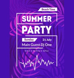 beach summer party card poster banner vector image
