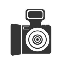 Black and white photo camera graphic vector