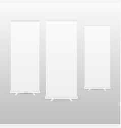 Blank roll-up banner display with clipping path vector