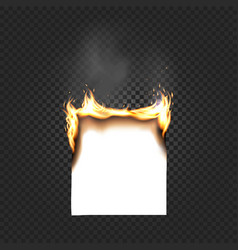Burning paper sheet a4 edges close up isolated vector