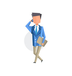 businessman talking on mobile phone cartoon vector image