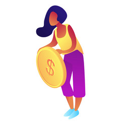 businesswoman holding a big dollar coin isometric vector image