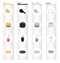 chicken legs fast food burger cola in a glass vector image
