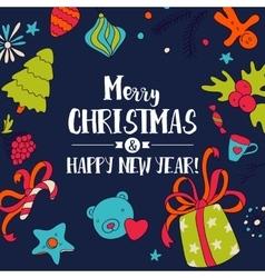 Christmas dark doodle card vector
