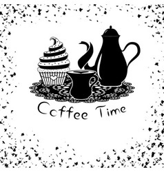Coffee time with coffee pot and cupcake vector