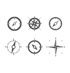 compass icons set isolated on white background vector image