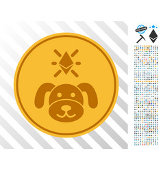 Crypto puppy coin flat icon with bonus vector