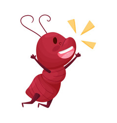 Cute ant character jumping with joy and shouting vector