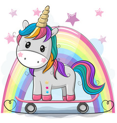 Cute cartoon unicorn with skateboard vector