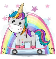 Cute cartoon unicorn with skateboard vector