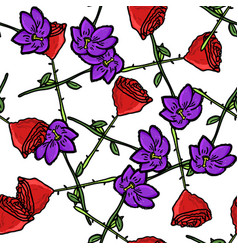 cute floral seamless pattern colorful leaves vector image