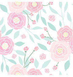 Cute pink peony seamless pattern vector