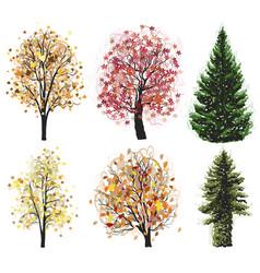 Deciduous and coniferous autumn trees set vector