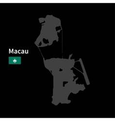 Detailed map of Macau with flag on black vector