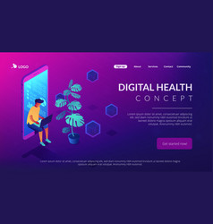 Digital era isometric 3d landing page vector