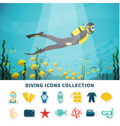 Diving icons collection vector
