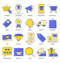 e-commerce icon set in colored line style vector image