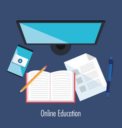 electronic education with computer desktop vector image