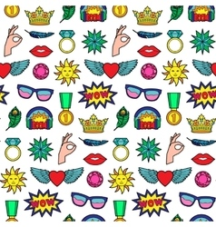 Fashion Patches Seamless Pattern vector image