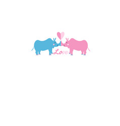 festive bright beautiful card with rhinos in love vector image