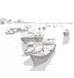fishing boats on river kai landscape sketch vector image