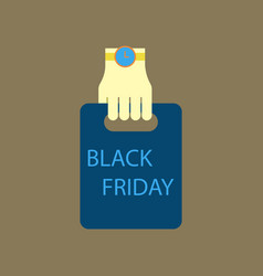 Flat icon of package in hand black friday vector