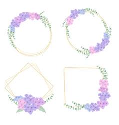 flat style hydrangea flower bouquet wreath vector image