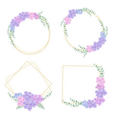 flat style hydrangea flower bouquet wreath with vector image