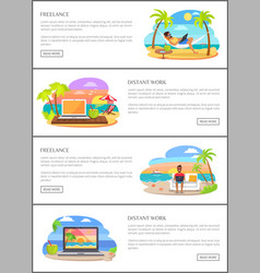 freelance and distant work web pages templates vector image