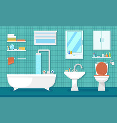 Furnishing bathroom interior vector