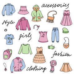 Girl clothes and lettering doodle set vector