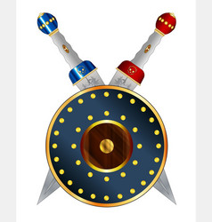 Gladiator swords crossed over a round shield vector