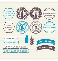 Gluten and lactose free stamps set vector