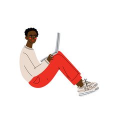 Guy sitting on floor with laptop young african vector