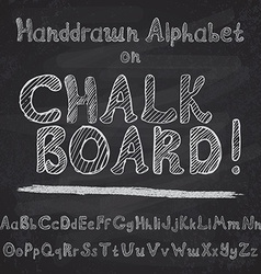 hand drawn alphabet design on chalk board rough vector image
